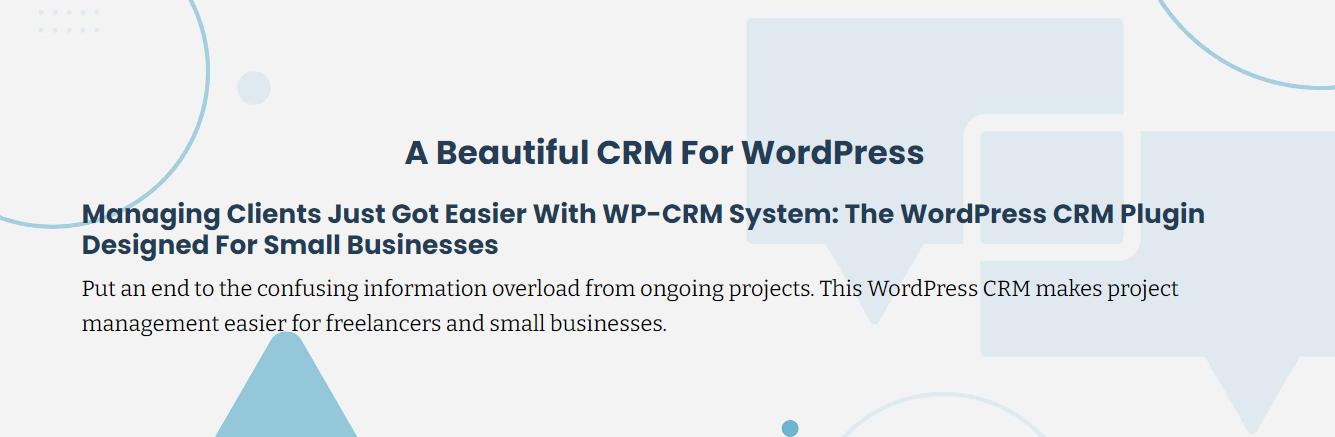 Screenshot of WP CRM System's plugin banner