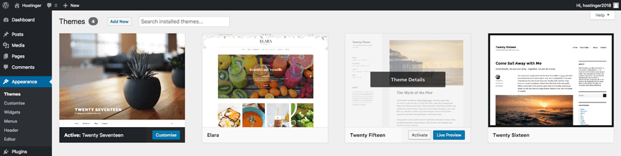 Themes section in WordPress admin area