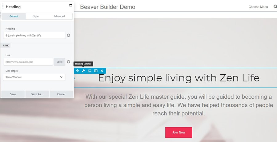The Beaver Builder plugin in action.
