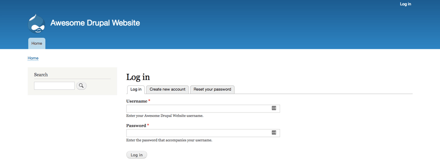 The login screen of Drupal back-end