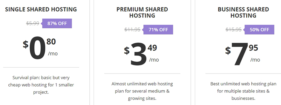 Some of our hosting plans.