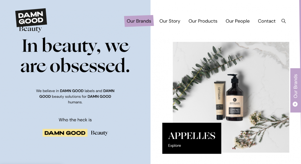Screenshot showing Damn Good Beauty's page