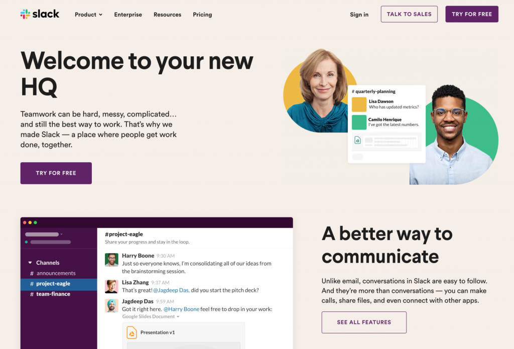 Screenshot showing Slack's website