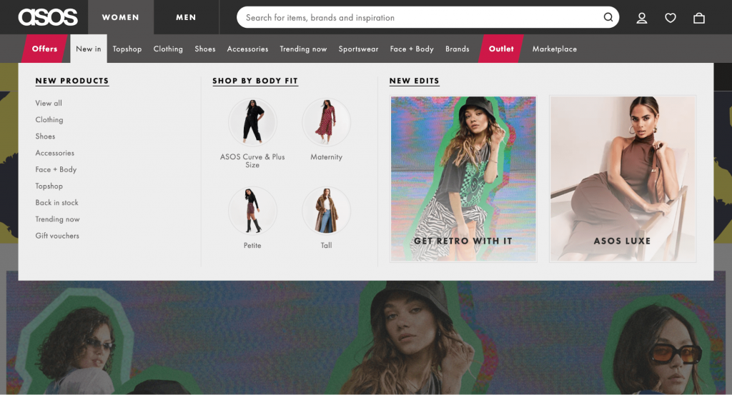 Screenshot showing Asos website, which uses a mega menu