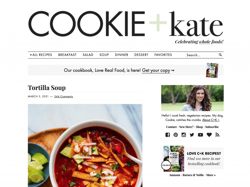 Screenshot showing Cookie and Kate's blog page