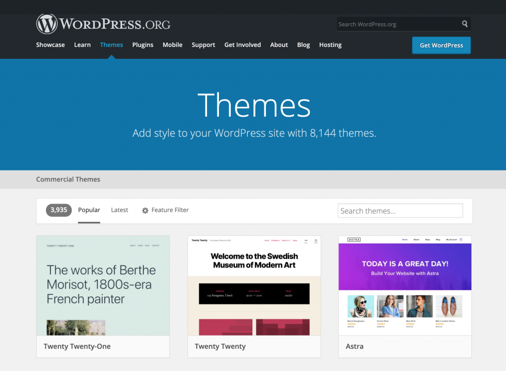Screenshot showing WordPress themes directory