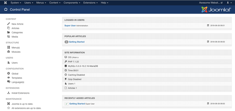 The main view of Joomla dashboard