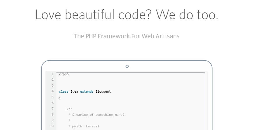 The Laravel homepage.