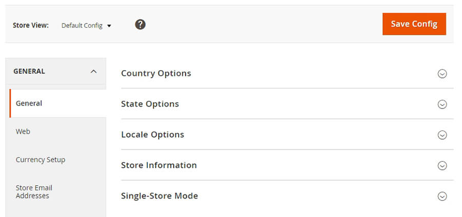 Some of Magento's store settings.