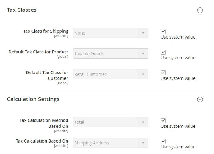 Configuring your Magento tax settings.