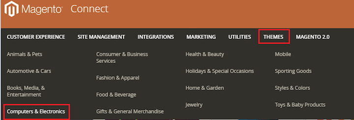 Magento themes category