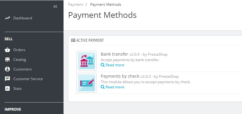 PrestaShop's default payment methods.