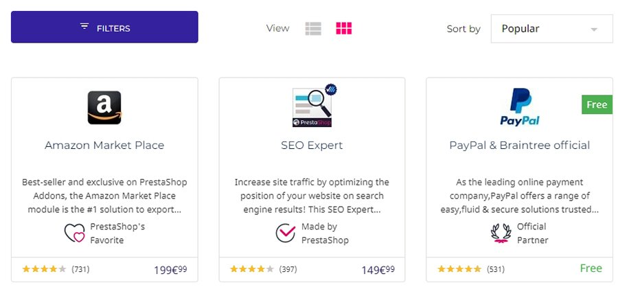 Several examples of PrestaShop modules.