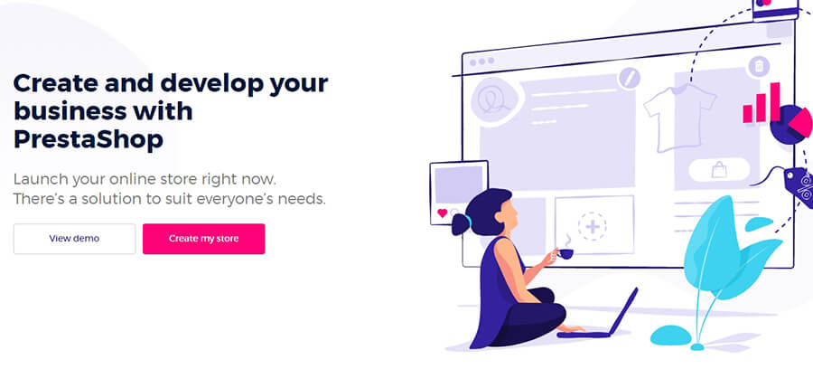 The PrestaShop homepage.