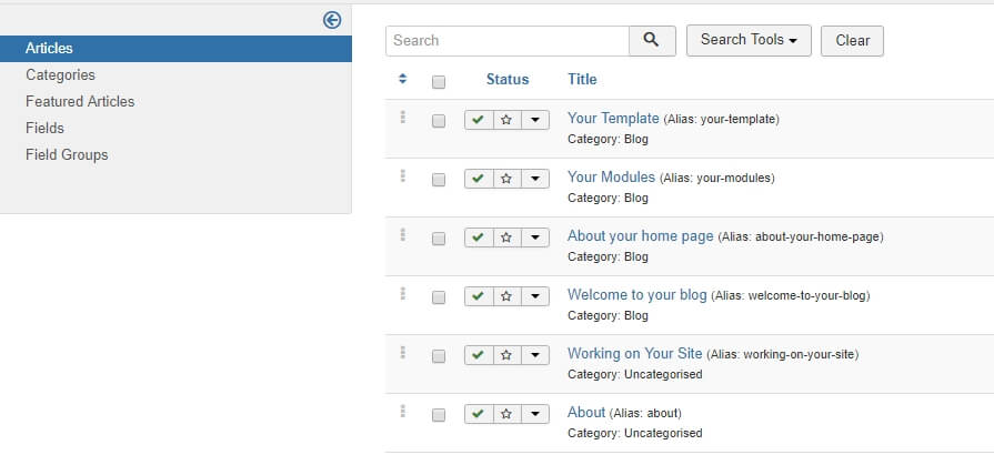 Your Joomla Articles tab.