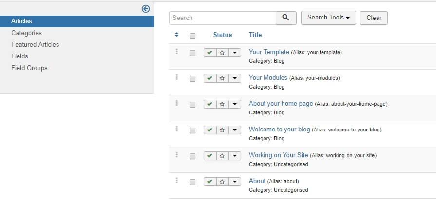 Your Joomla Articles tab.