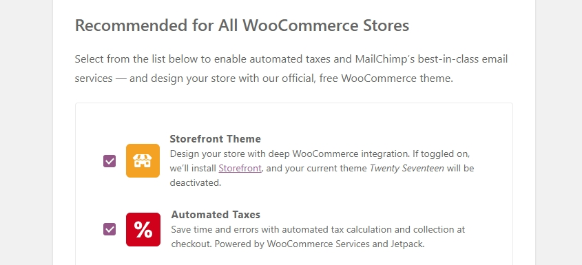 Part of the WooCommerce setup wizard.