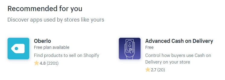 Checking out some of Shopify's apps.
