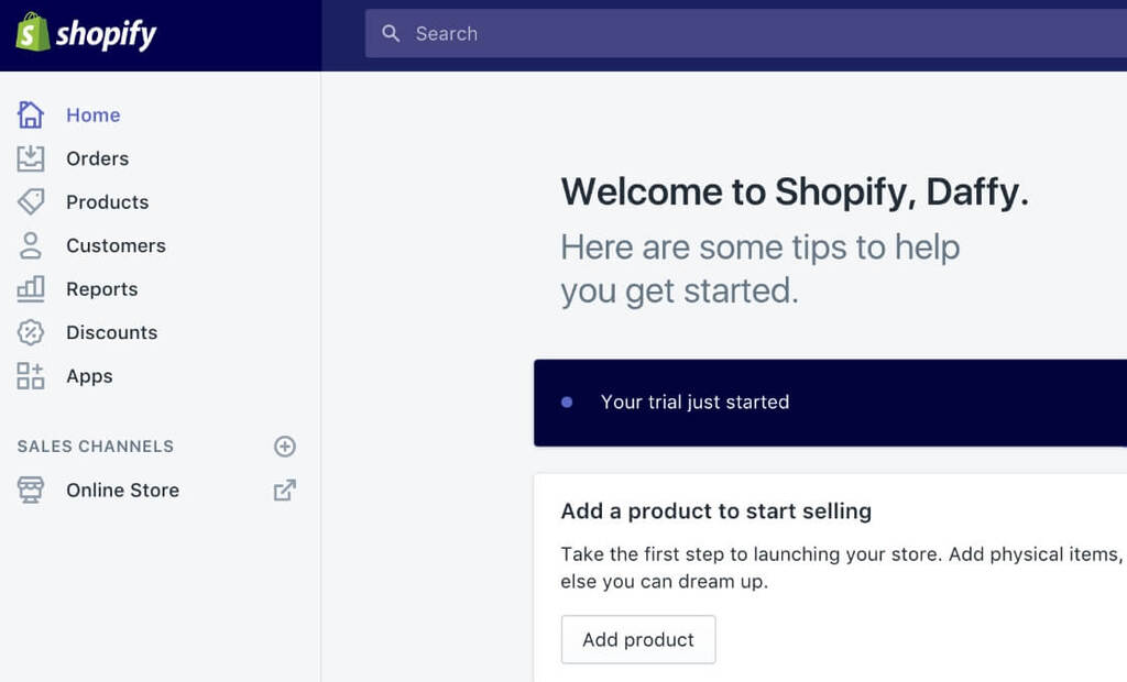 Your Shopify dashboard.