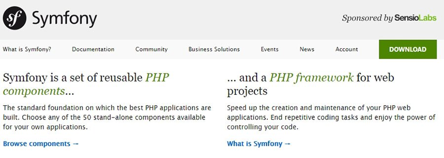The Symfony homepage.