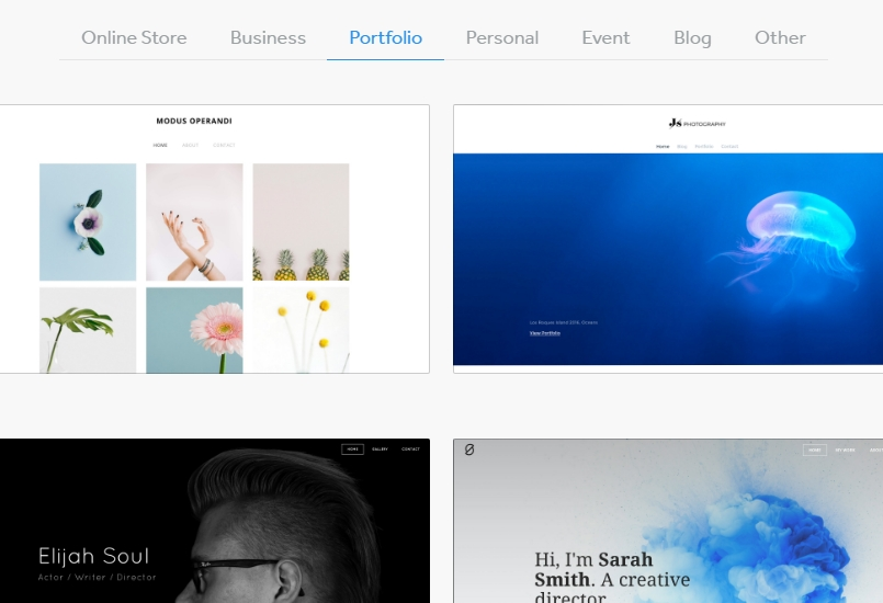 A selection of some of Weebly's themes.
