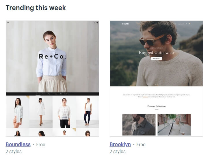 Some of Shopify's trending themes.