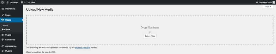 Uploading new media files through WordPress dashboard
