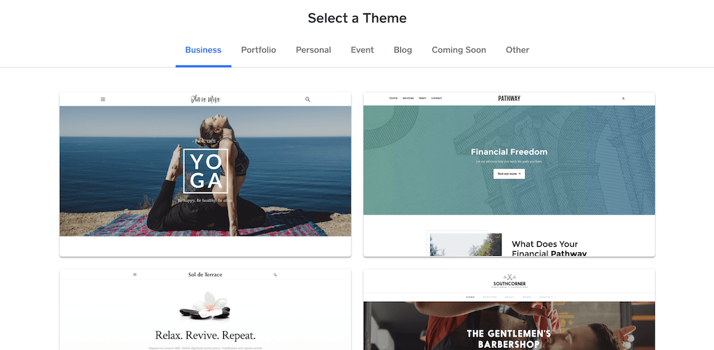 Some of the themes Weebly offers