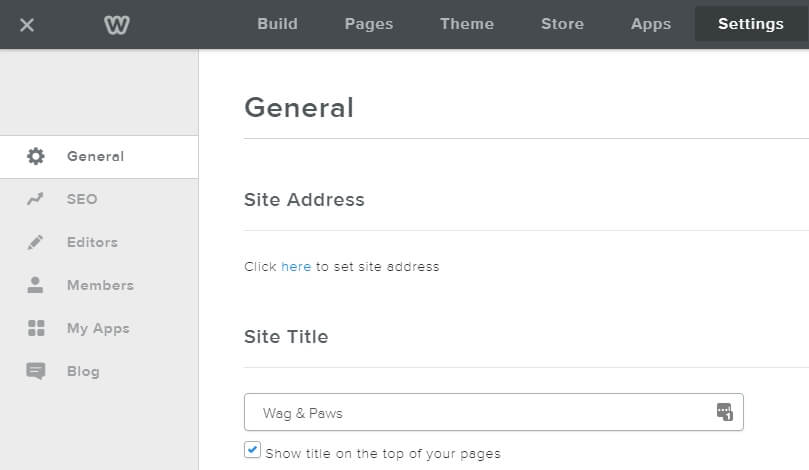 Weebly's Settings tab.