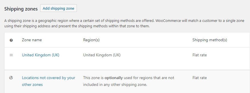 Some of WooCommerce's shipping settings.
