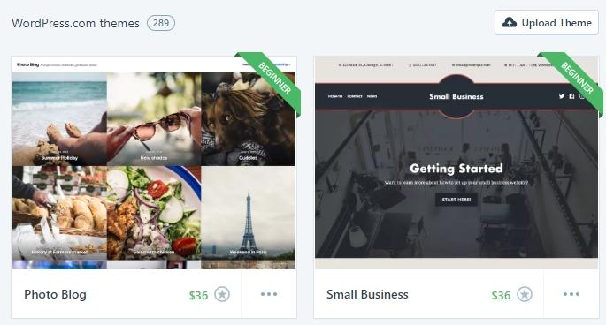 Some of WordPress.com's theme options.