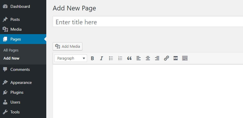 Using the WordPress editor.