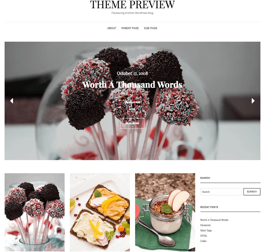 Ejemplo de un tema de WordPress para blogs de comida