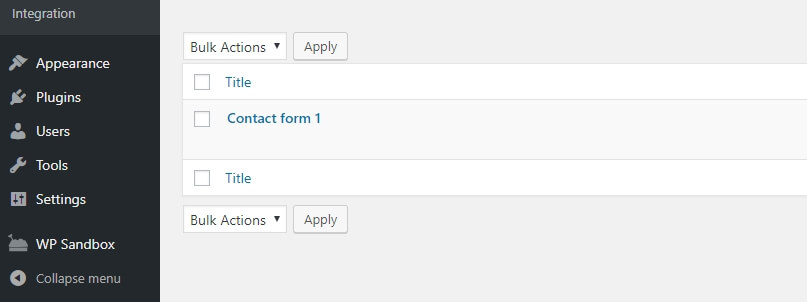 A list of existing contact forms.