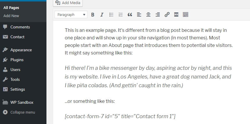 Pasting the contact form shortcode within the editor.