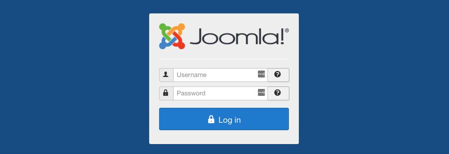 Joomla CMS Dashboard Pantalla de inicio de sesión