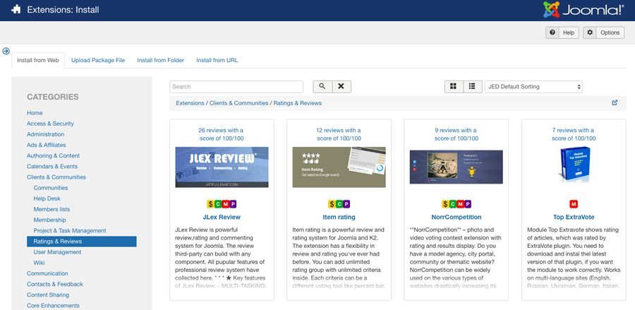 The extension library in Joomla admin area