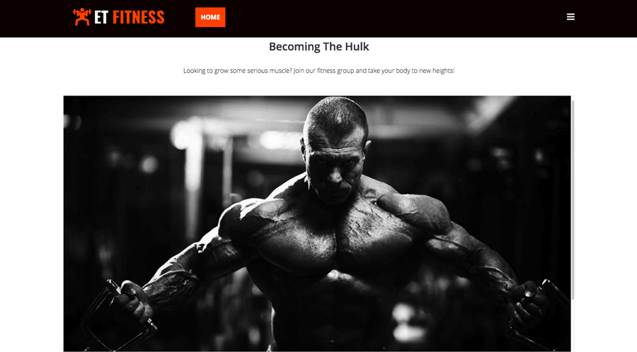 Joomla fitness template example