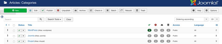 Sección de gestión de categorías en el tablero de joomla