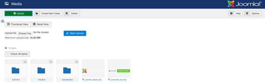 Carga y eliminación de archivos multimedia en Joomla