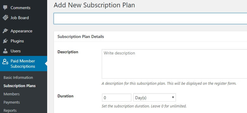 Creating new subscription plans.