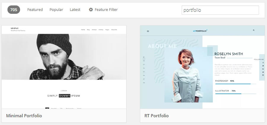 Portfolio-related themes.