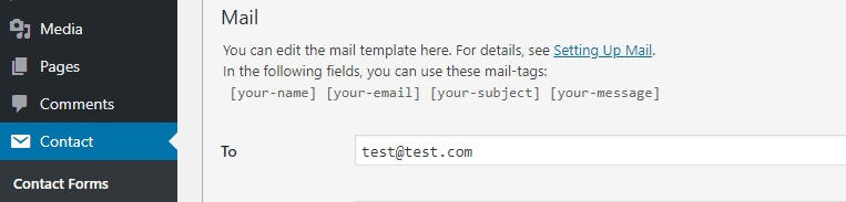 Configuring which email will receive the messages sent from your site.
