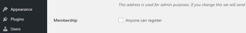 Enabling global user registration on WordPress.