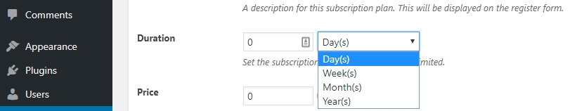 Configuring a length for your subscription plan.