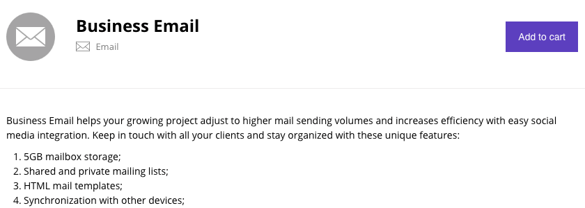 Business email description