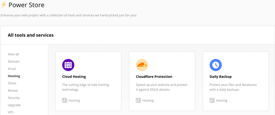 CloudFlare module in Hostinger's Power Store