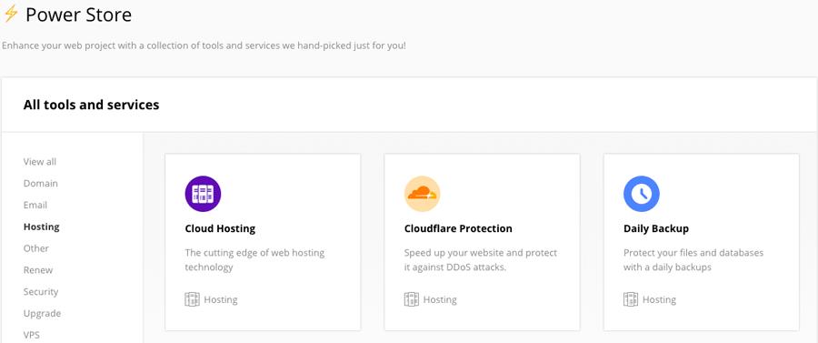 Módulo CloudFlare en el Almacén de energía del hostinger