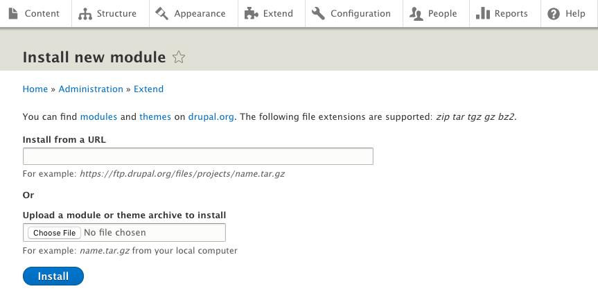 Installing a Drupal module