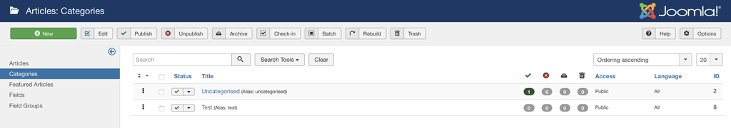 Category management section in Joomla dashboard